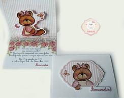 Convite Ursinha Rosa e Branco Pop Up