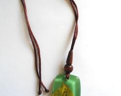 Bioj�ia - Colar Placa 1 - Flores (green)