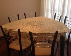 Toalha de mesa redonda em croch�