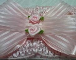 Faixa Rosa de la�o de cetim c/organza.