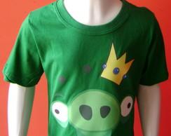 Camiseta Infantil Angry Birds - Porco