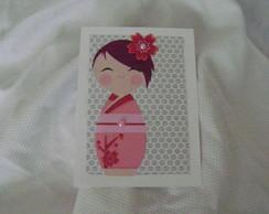 Convite Kokeshi ,Cart�o.