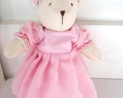 Ursa Bege M, com Vestido Rosa