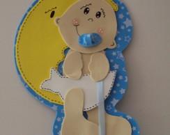 Enfeite/Plaquinha Porta Beb� Azul