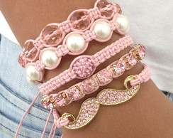 Kit pulseiras pink - FRETE GRATIS
