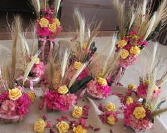 Kit Festa rosa pink & amarelo na cumbuca