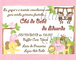 Arte Digital Convite Ch� de Beb� Safari