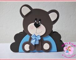 Urso marrom e azul porta guardanapo