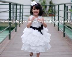 Vestido Princesa Branco e Preto