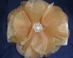 Faixa De meia flor Tule cristal dourada