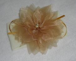 Faixa De Beb�, Flor tule cristal dourada