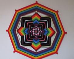 Mandala em fios - Arco-�ris - 60cm