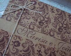 Convite R�stico marrom floral
