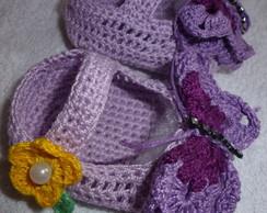 sand�lia borboleta em croch�