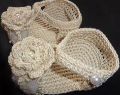 Sapatilha Flor em croch�