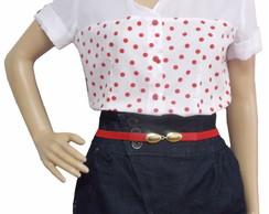 Camisa feminina em po� vermelho