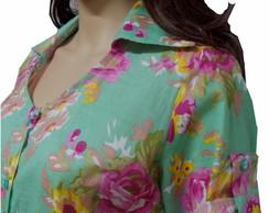 Camisa bata floral verde