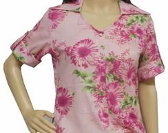 Camisa bata floral rosa