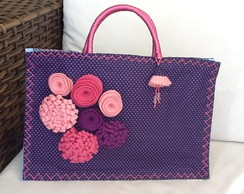 BOLSA NYLON CUSTOMIZADA ROXA FLORES