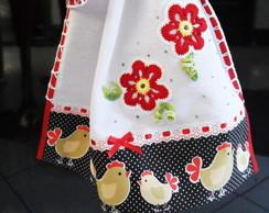 PANO DE PRATO - galinhas florais