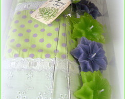 Toalha Lavabo Verde/lilas