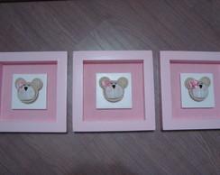Trio de Quadros Ursinhas (rosa)