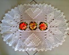 Tapete Oval em Croch� com Flores
