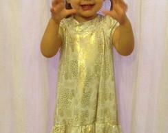 Vestido Branco e Dourado