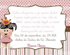 Arte digital convite ch� de beb� menina