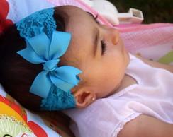 Faixa Baby renda azul turquesa