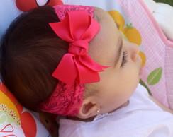 Faixa Baby renda rosa pink