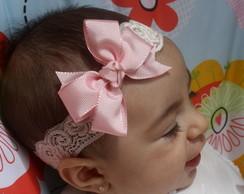 Faixa Baby renda rosa beb�