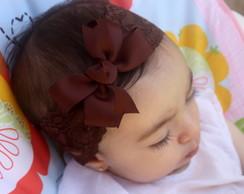 Faixa Baby renda marrom chocolate