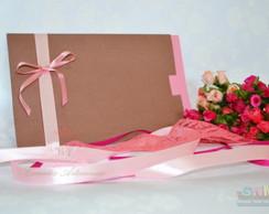 Convite de Casamento Marrom e Rosa