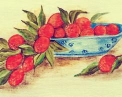 Pano de prato pintado a m�o: Lichias