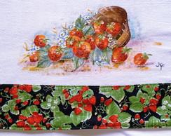 Pano de prato pintado a m�o: Morangos