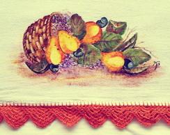 Pano de prato pintado a m�o: Cajus