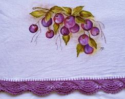 Pano de prato pintado a m�o: Ameixas