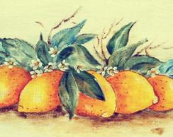 Pano de prato pintado a m�o: Lim�es