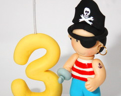 Vela numeral pirata em biscuit.