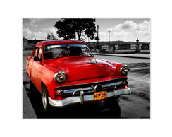 Placa MDF Retr�-Red Car Havana - 667