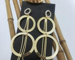Brinco fios de ouro + Anel oval