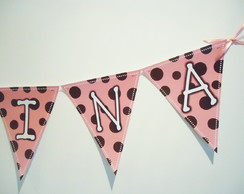 Bandeirola Triangular rosa e marrom