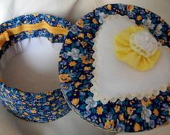 """Caixa Decorativa """" Flores no azul"""""""