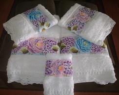 Jogo toalhas - 5 pe�as - sob encomenda