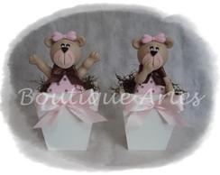 Cachep� centro de mesa ursa marrom/rosa