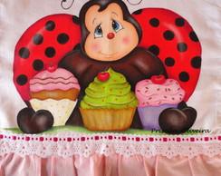 Pano De Prato Joaninha Com Cupcake