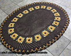 Tapete Oval Com Flor girassol