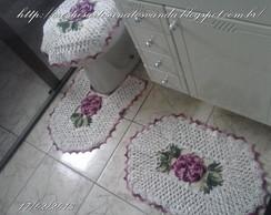 Jogo Para Banheiro Em Croch� Com Rosas