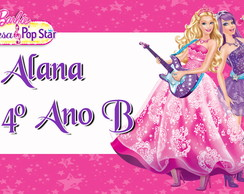 Etiqueta Escolar Barbie Pop Star
